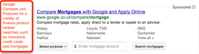Google Compare ad unit for finance related searches