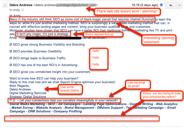 Spam SEO Email Examples (Just For Fun)